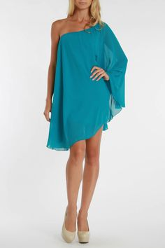 La Class Ophelia One Sleeve Cocktail Dress In Teal