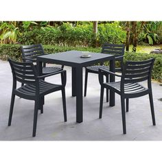 Compamia Artemis 5 Piece Square Resin Patio Dining Set in Dark Gray *** You can get more details by clicking on the image. (This is an affiliate link) Outdoor Dining Set, Patio Dining, Outdoor Tables, Outdoor Furniture Sets, Outdoor Decor, Dining Chairs, Dining Table, Outdoor Living, Outdoor Areas