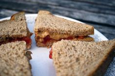 Peanut Butter and Jelly Always a crowd-pleaser, the simple PB on whole wheat bread offers complete protein since it's a combination of nuts and grains. Two slices of whole wheat bread (200 calories), plus one tablespoon of all-natural creamy peanut butter (105 calories), and one tablespoon of strawberry jam (40 calories) make a 345-calorie sandwich.