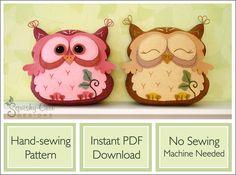sewing pattern, free pattern, felt owl, owl plushie, owl pattern, free owl pattern, stuffed animal