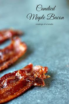 (Canada) Candied Maple Bacon | So easy to make, this candied bacon is maple flavoured. Sweet, and salty, it's sheer perfection. Candy Recipes, Bacon Recipes, Brunch Recipes, Appetizer Recipes, Breakfast Recipes, Appetizers, Dessert Recipes, Cooking Recipes, Breakfast Ideas
