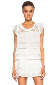 Image 1 of Isabel Marant Etoile Clara Cotton-Blend Voile Vintage Top in White