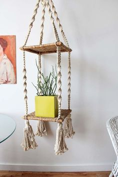 tiered woven plant hanger