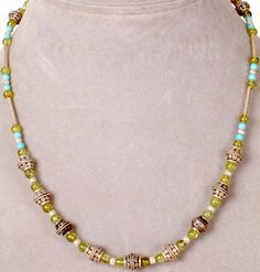 turquoise and peridot beads and jewelry | Turquoise and Peridot Necklace