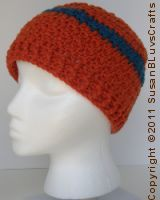 crocheted griddle stitch beanie with stripe ~ free pattern