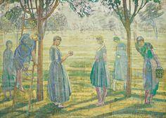 1915 La récolte des pommes by Rodolphe-Théophile Bosshard