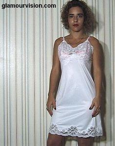 foto de gitl in the mirror wearing a white full lacey slip glamour vision slips Pinterest