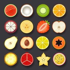 Illustration about Fruit icon set on black background. Illustration of coconut, kitchen, meal - 36377521 Icon Design, Design Ios, Game Design, Flat Design, Fruit Icons, Food Icons, Fruit Illustration, Food Illustrations, Deco Fruit