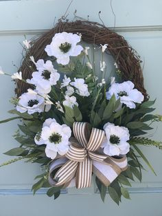 Farmhouse White floral Grapevine Wreathfor Door, Wreaths, wreaths for front door, farmhouse wreaths, navy - Covid Logisn Greenery Wreath, Grapevine Wreath, Tulle Wreath, Burlap Wreaths, Summer Wreath, Spring Wreaths, Winter Wreaths, Primitive Wreath, Country Wreaths