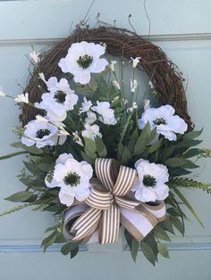 Farmhouse White floral Grapevine Wreathfor Door, Wreaths, wreaths for front door, farmhouse wreaths, navy - Covid Logisn Greenery Wreath, Grapevine Wreath, Tulle Wreath, Burlap Wreaths, Summer Wreath, Spring Wreaths, Winter Wreaths, Primitive Wreath, Country Wreaths