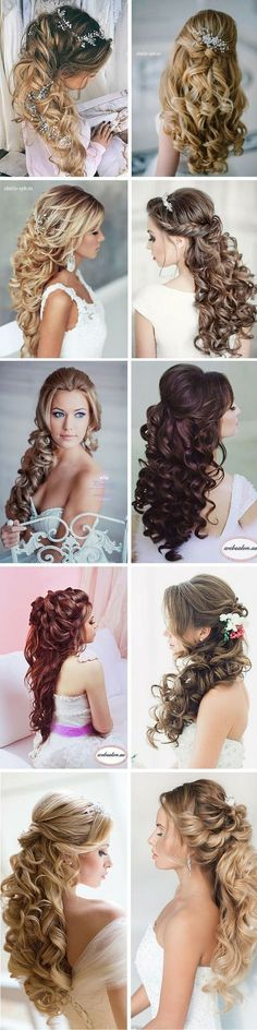 Elegante hochzeit frisuren curly hair halb hoch halboffen kurzehaare brautfri boho chic wedding hairstyle for long hair with flowers wedding hairstyles half down hair and make up by Elegant Wedding Hair, Wedding Hair Down, Wedding Hairstyles For Long Hair, Wedding Hair And Makeup, Bride Hairstyles, Down Hairstyles, Pretty Hairstyles, Elegant Hairstyles, Trendy Wedding