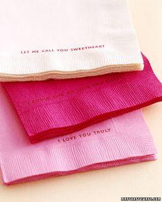Rubber stamp napkins