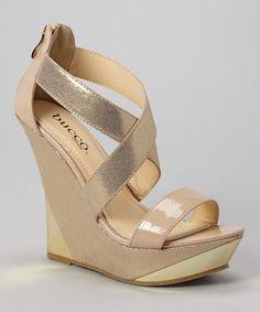 Another great find on #zulily! Patent Nude & Gold Bennington Wedge Sandal #zulilyfinds