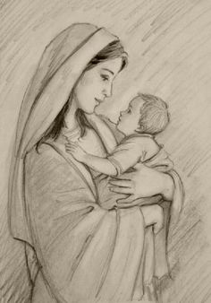 Just like immigrant mother and child detained at the border, separated and places in internment camps. Jesus Drawings, Pencil Art Drawings, Cute Drawings, Drawing Sketches, Paintings Of Christ, Jesus Painting, Christian Drawings, Christian Art, Religious Pictures