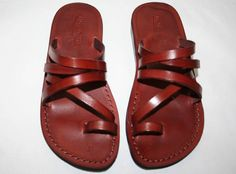 brown buckleless leather sandals