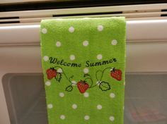 Tea Towel Summer Strawberries by isewmuchtime on Etsy, $6.00