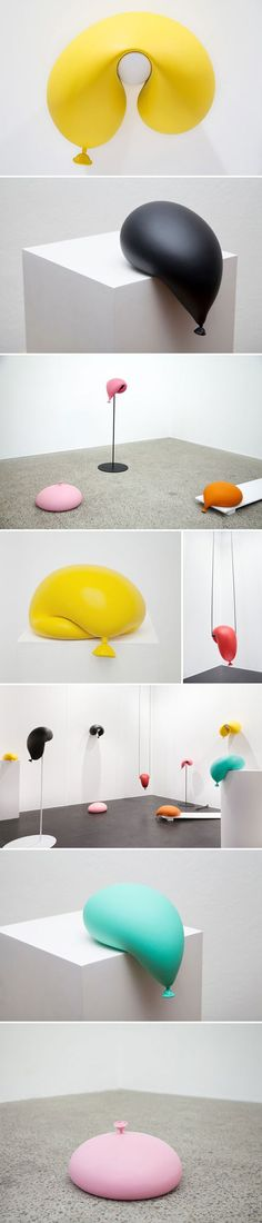 "This series by Sydney based artist Todd Robinson is actually titled ""Oooh"". Colorful, squishy {yet solid?}, lazy-looking balloons made of hydrocal, polyester filler, and paint."