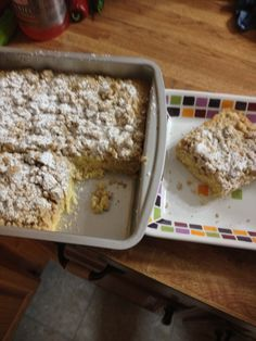 """Crumb cake used Pampered Chef 9"""" square pan & a dish from sidewalk sale holds my slice"""