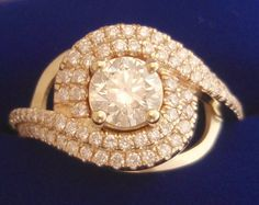 Yellow Gold Custom Swirl Ring made in CAD CAM to replace a clients LOST Ring......she loved it !