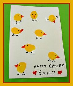 Thumbprint Easter Chicks Card Craft and Easter Song from Kiboomu
