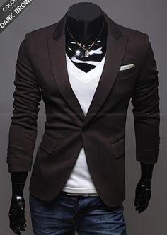 Long Sleeve One Button Men Coffee Blends Suit M/L/XL @X12158901c