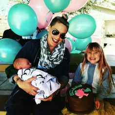 Pink with her daughter Willow & newborn son