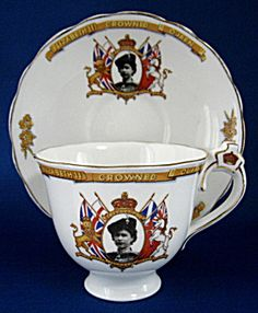 Cup and Saucer Elizabeth II Coronation Crown Handle. Click on the image for more information.