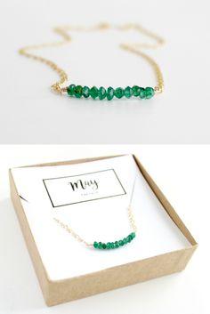 BORCIK emerald necklace - raw emerald jewelry - birthstone necklace - birthstone jewelry - simple necklace - layering necklace - gift jewelry - birthday gift ideas for best friend - may birthstone -