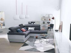 Canapé d'angle fixe droit 4 places SPEEDWAY coloris anthracite/gris argenté prix promo Canapé Conforama pas cher 899.50 € TTC au lieu de 1 197 €.