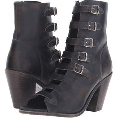 Frye Izzy Belted Short (Black Stone Wash) Women's Dress Boots ($233) ❤ liked on Polyvore featuring shoes, boots, ankle booties, ankle boots, black, peep-toe booties, peep toe bootie, black leather booties and leather ankle boots