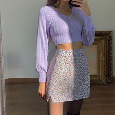 Purple Outfits, Girly Outfits, Cute Casual Outfits, Pretty Outfits, Spring Outfits, Floral Skirt Outfits, Teen Fashion Outfits, Mode Outfits, Aesthetic Fashion
