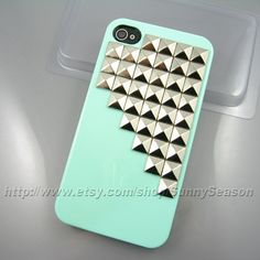 IPhone 4 case,Iphone 4S case,Mint Green Up Corner Studded iPhone 4 Case,Silver Pyramid Studs iPhone Hard Case. $12.99, via Etsy.