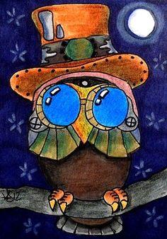STEAMPUNK OWL  ACEO ON EBAY