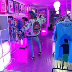 vaporwave room Lovely girl shopping at - vaporwave Aesthetic Shop, Retro Aesthetic, Aesthetic Fashion, Aesthetic Girl, Aesthetic Clothes, Aesthetic Bedroom, Rainbow Aesthetic, Purple Aesthetic, Psychedelic Art