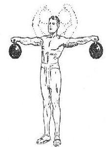 vintage oldtime strongman exercise lifting two kettlebells illustration