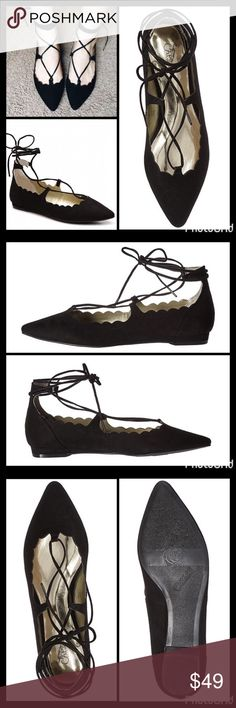 "ANKLE WRAP BALLET FLATS Lace up these suede-feel scalloped trim ballet flats for sweet, feminine steps ▪️Pointed toe ▪️Faux suede upper ▪️Scalloped top line ▪️Slip-on with wraparound ankle tie detail ▪️Lightly padded footbed ▪️¾"" block heel ▪️Synthetic sole ▪️Fits true to size  🛍 2+ BUNDLE=SAVE  ‼️NO TRADES--NO HOLDS--NO MODELING  💯 Brand Authentic  ✈️ Ship Same Day--Purchase By 2PM PST  🖲 USE BLUE OFFER BUTTON TO NEGOTIATE   ✔️ Ask Questions Not Answered In Description--Want You To Be…"