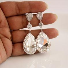 Wedding Jewelry Bridal Earrings Cubic Zirconia with Teardrop Large Clear Swarovski Crystal Silver Posts Wedding Earrings. $50.00, via Etsy.