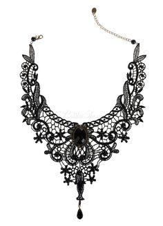 Lolitashow Gothic Lolita Halskette Schwarz Spitzen schneiden Sie Herz und Blume Lolita Choker Kragen