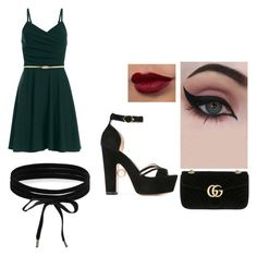 """""""Emerald"""" by hudzshaik on Polyvore featuring Concrete Minerals, Gucci, Nicholas Kirkwood and Boohoo"""