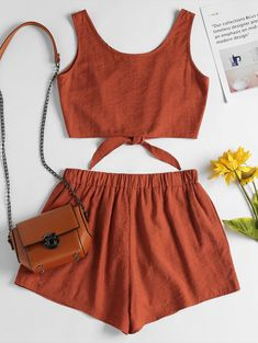 Sleeveless Button Up Crop Top And Shorts Set - Dark Orange S Girls Fashion Clothes, Teen Fashion Outfits, Outfits For Teens, Girl Outfits, Crop Top And Shorts, Crop Top Outfits, Crop Tops, Matching Top And Shorts, Cute Summer Outfits