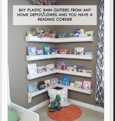 Baby room reading corner... I will prob have too many books for this but I like it.