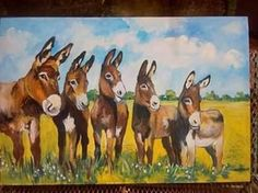 sunshine donkeys by WILMA POTGIETER Farm Paintings, Donkeys, Moose Art, Landscapes, Sunshine, Drawings, Artist, Animals, Paisajes