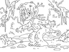 Swamp Monster coloring page - Coloring Pages 4 U Adult Coloring, Coloring Books, Free Halloween Coloring Pages, Monster Coloring Pages, Activity Room, Halloween 2016, To Color, Homeschooling, Creepy
