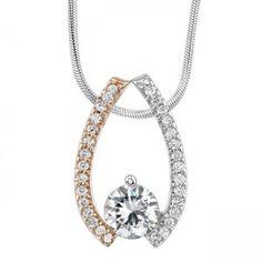 White & Rose Gold Diamond Pendant - 7258NPW