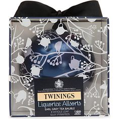 Our 2013 blue Christmas bauble is packed full of Liquorice Allsorts Earl Grey pyramid tea bags This is the best I've found to enjoy a relaxing and very tasty cup of tea.