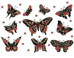 Sailor Jerry, Tattoo, Butterfly Moth Flash Sheet. Vulture Graffix T Shirt Design, http://vulturegraffix.onlineshirtstores.com