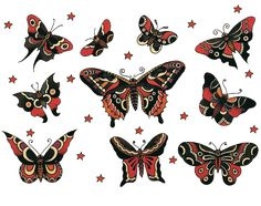 Sailor Jerry, Vintage Tattoo Designs, Moth & Butterfly Tattoo flash sheet, T Shirt