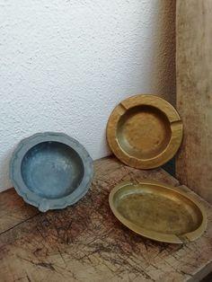 Beautiful vintage solid brass or pewter ashtrays #vintageashtrays