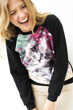 Sweater met fotoprint van kat   Veritas BE