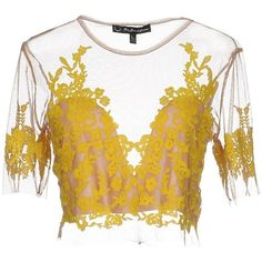 For Love & Lemons Blouse ($100) ❤ liked on Polyvore featuring tops, blouses, yellow, embroidery blouses, short sleeve tops, embroidered blouse, embroidered top and yellow top